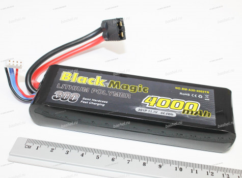 Аккумулятор Black Magic 4000mAh, Li-Pol 11.1V 3S 30C Soft Case TRX Plug