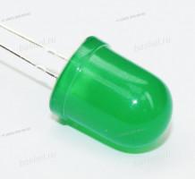 LED DIP 10mm DFL-10003UGD-6, 521а, круглый матовый 10мм, зелёный, 6000mcd, 60°, 2.5V