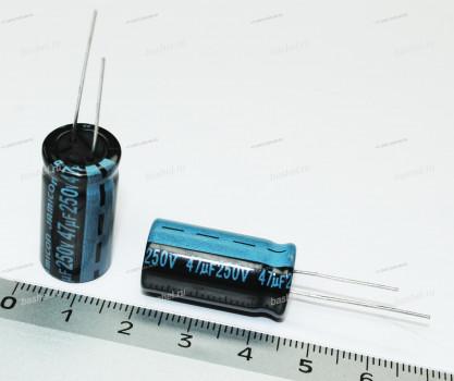 ECAP 47 мкФ / 250 В 12.5x25 TK, Конденсатор электролитический, JAMICON